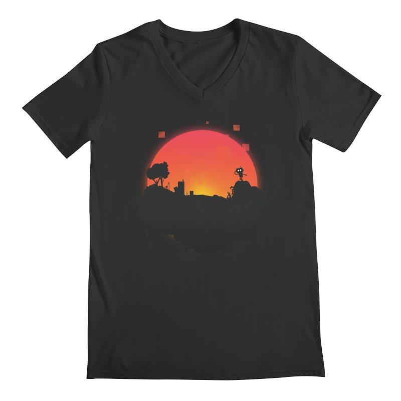 Sunrise of robot island Men's V-Neck by noomi's Artist Shop