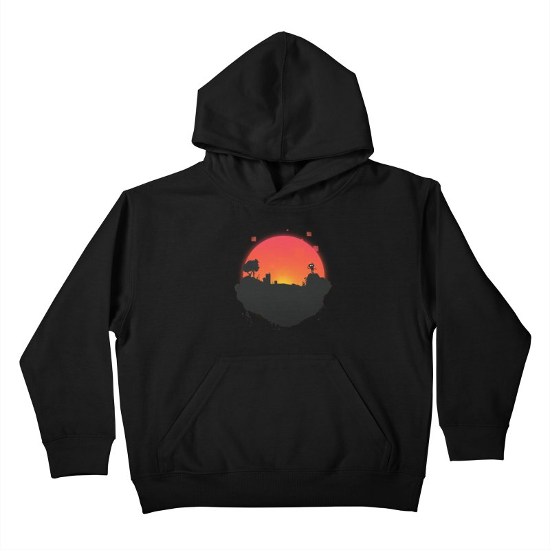Sunrise of robot island Kids Pullover Hoody by noomi's Artist Shop