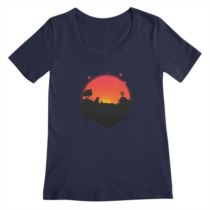 Sunrise of robot island Women's Scoopneck by noomi's Artist Shop