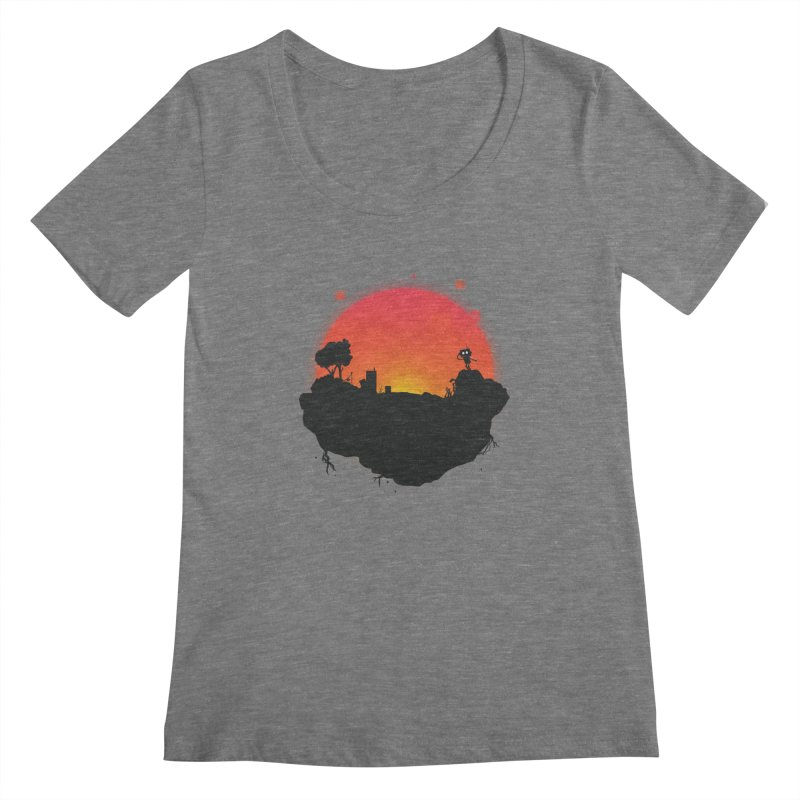 Sunrise of robot island Women's Scoopneck by noomi's Artist Shop