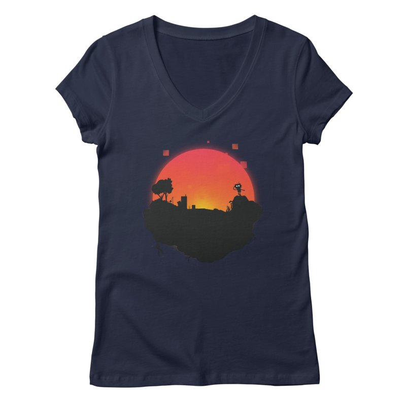Sunrise of robot island Women's V-Neck by noomi's Artist Shop