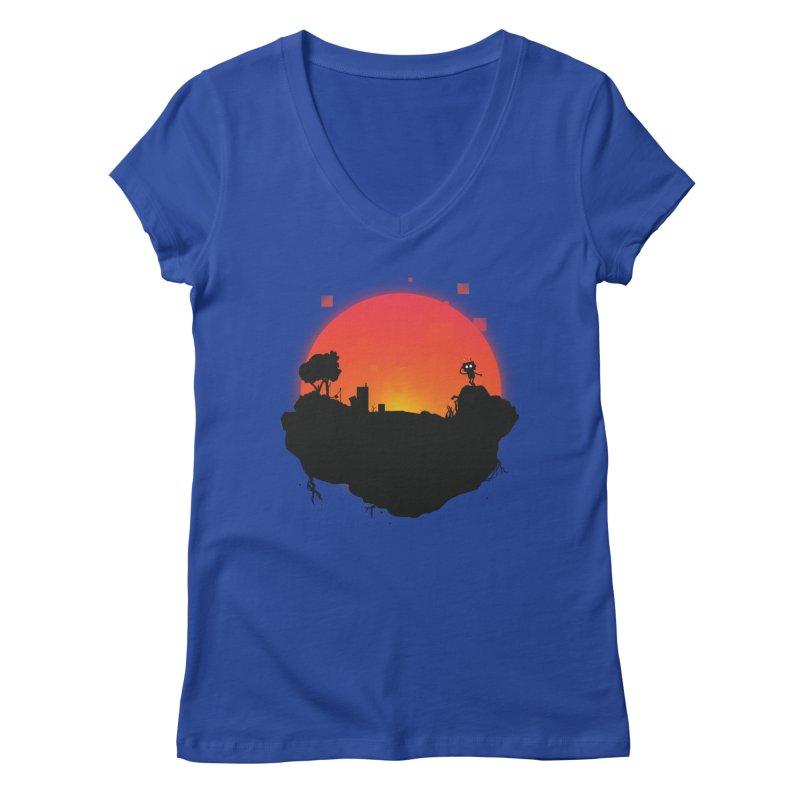 Sunrise of robot island Women's V-Neck by noomi's Artist Shop