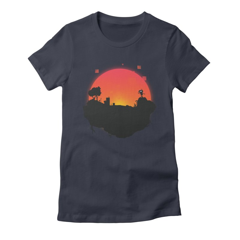 Sunrise of robot island Women's Fitted T-Shirt by noomi's Artist Shop
