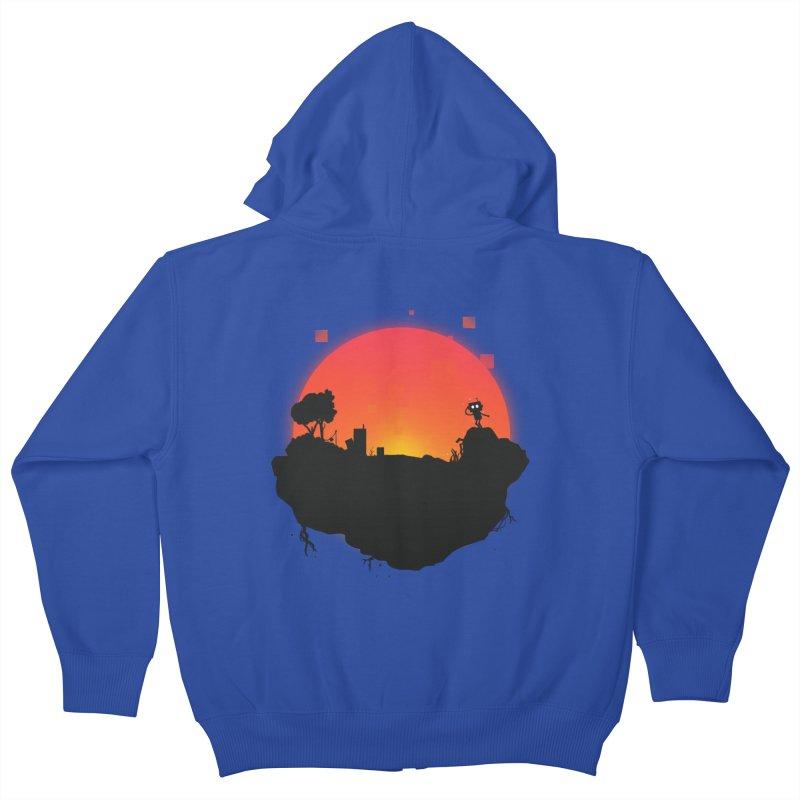 Sunrise of robot island Kids Zip-Up Hoody by noomi's Artist Shop