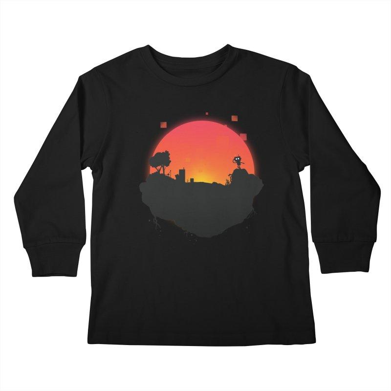 Sunrise of robot island Kids Longsleeve T-Shirt by noomi's Artist Shop