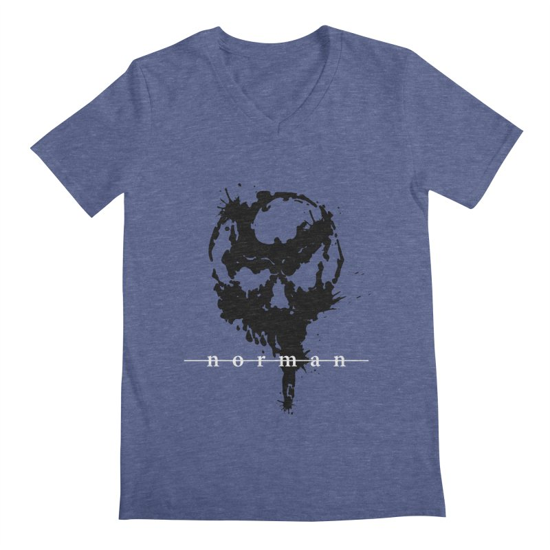 Splatter Skull Men's Regular V-Neck by Norman Wilkerson