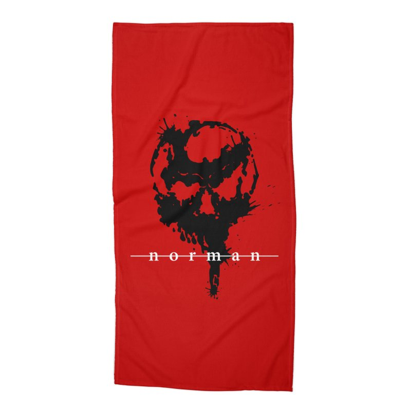 Splatter Skull Accessories Beach Towel by Norman Wilkerson