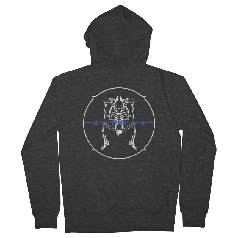 Norman logo (White/Blue) Men's French Terry Zip-Up Hoody by Norman Wilkerson