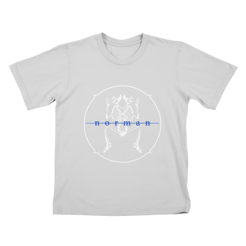 Norman logo (White/Blue) Kids T-Shirt by Norman Wilkerson