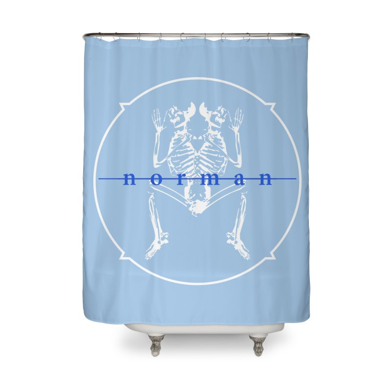 Norman logo (White/Blue) Home Shower Curtain by Norman Wilkerson