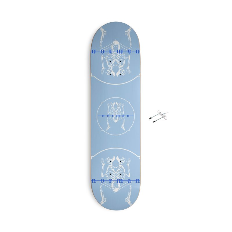 Norman logo (White/Blue) Accessories With Hanging Hardware Skateboard by Norman Wilkerson