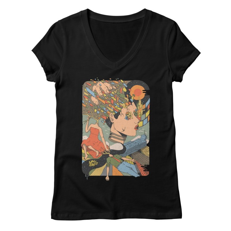 A Shattered Mind Women's V-Neck by normanduenas's Artist Shop
