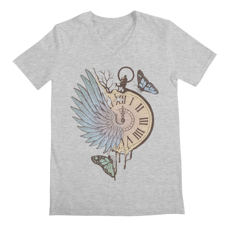 Le Temps Passe Vite (Time Flies) Men's V-Neck by normanduenas's Artist Shop