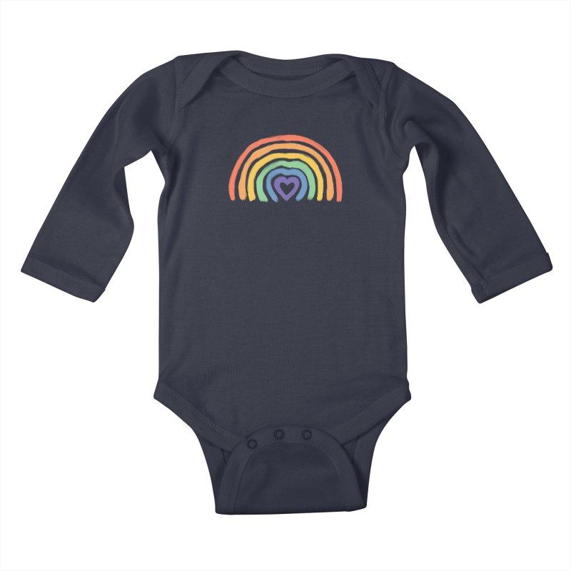 Rainbow Heart Kids Baby Longsleeve Bodysuit by normanduenas's Artist Shop