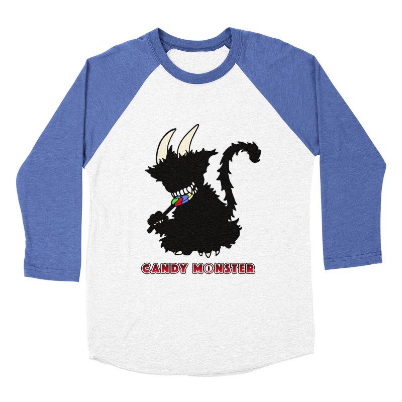 Candy Monster Women's Baseball Triblend Longsleeve T-Shirt by Norman Wilkerson Designs