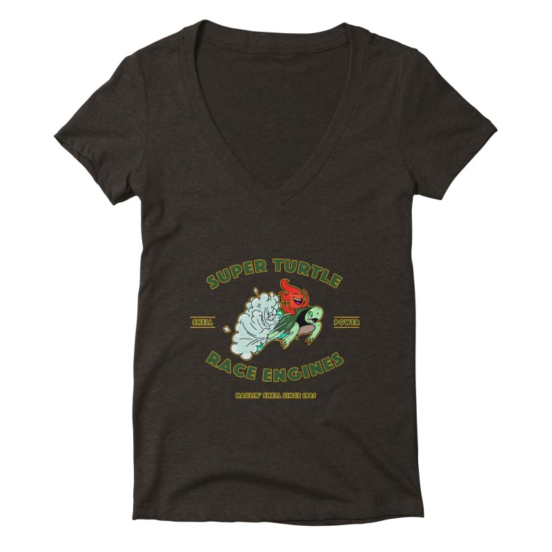 Super Turtle Engine Women's Deep V-Neck V-Neck by Norman Wilkerson Designs
