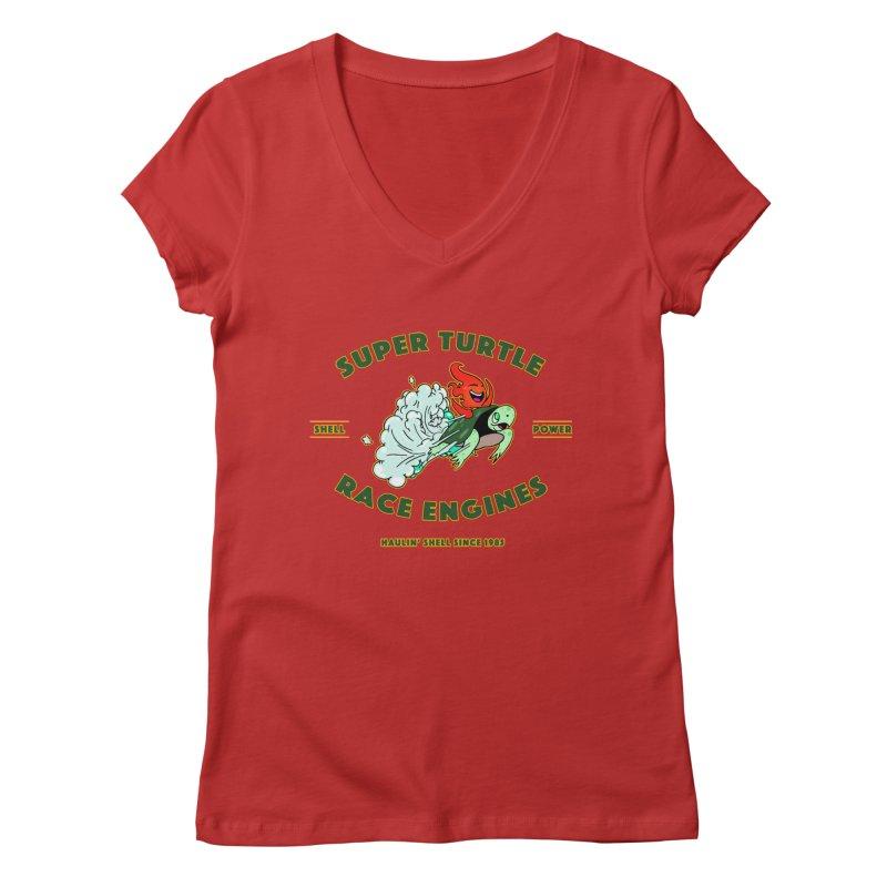 Super Turtle Engine Women's Regular V-Neck by Norman Wilkerson Designs