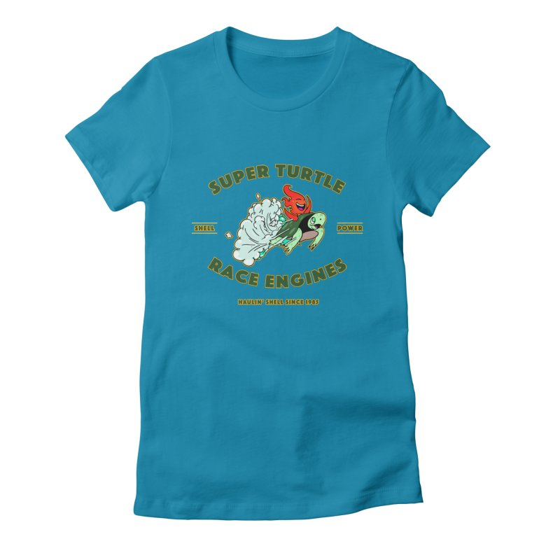 Super Turtle Engine Women's Fitted T-Shirt by Norman Wilkerson Designs