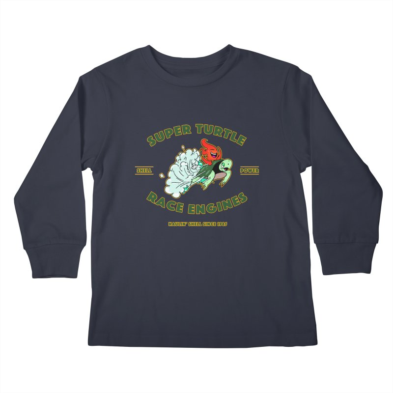 Super Turtle Engine Kids Longsleeve T-Shirt by Norman Wilkerson Designs