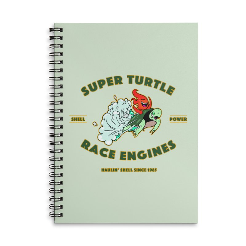 Super Turtle Engine Accessories Lined Spiral Notebook by Norman Wilkerson Designs