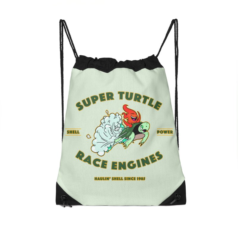 Super Turtle Engine Accessories Drawstring Bag Bag by Norman Wilkerson Designs