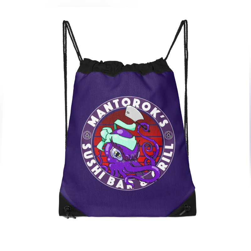 Eternal Sushi King Accessories Drawstring Bag Bag by Norman Wilkerson Designs