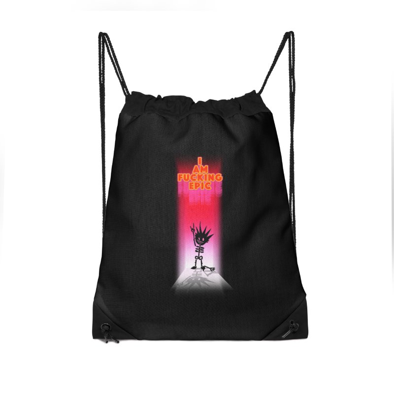 I am Epic Accessories Drawstring Bag Bag by Norman Wilkerson Designs