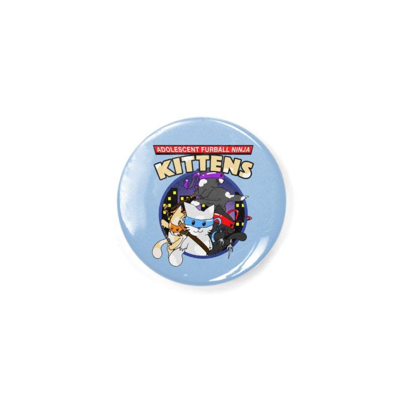 Adolescent Furball Ninja Kittens Accessories Button by Norman Wilkerson Designs