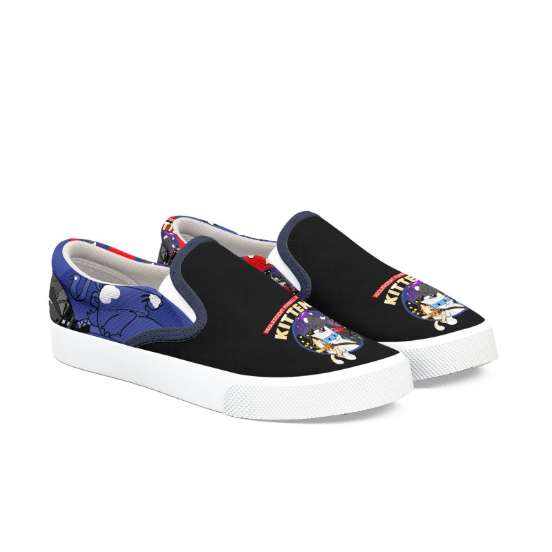 Adolescent Furball Ninja Kittens Women's Slip-On Shoes by Norman Wilkerson Designs