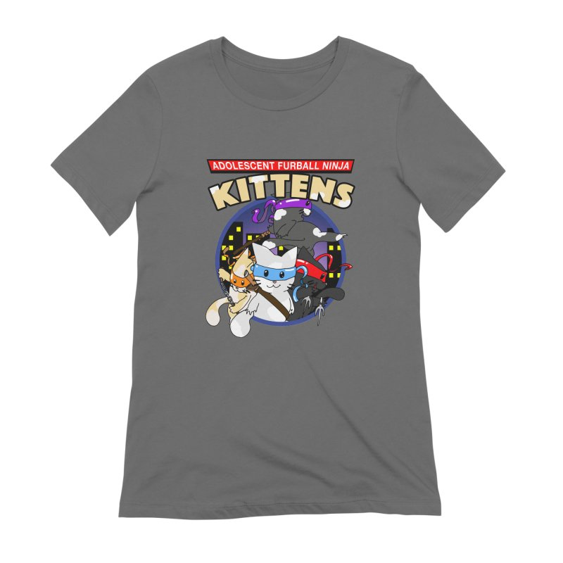 Adolescent Furball Ninja Kittens Women's Extra Soft T-Shirt by Norman Wilkerson Designs