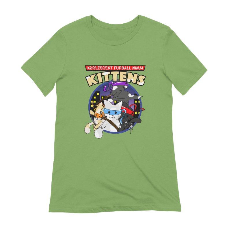 Adolescent Furball Ninja Kittens Women's Extra Soft T-Shirt by Norman Wilkerson Designs