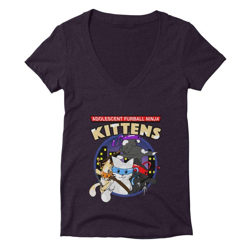 Adolescent Furball Ninja Kittens Women's Deep V-Neck V-Neck by Norman Wilkerson Designs
