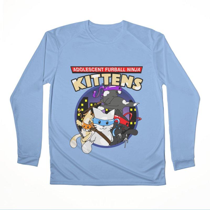 Adolescent Furball Ninja Kittens Men's Performance Longsleeve T-Shirt by Norman Wilkerson Designs