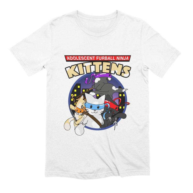 Adolescent Furball Ninja Kittens Men's Extra Soft T-Shirt by Norman Wilkerson Designs