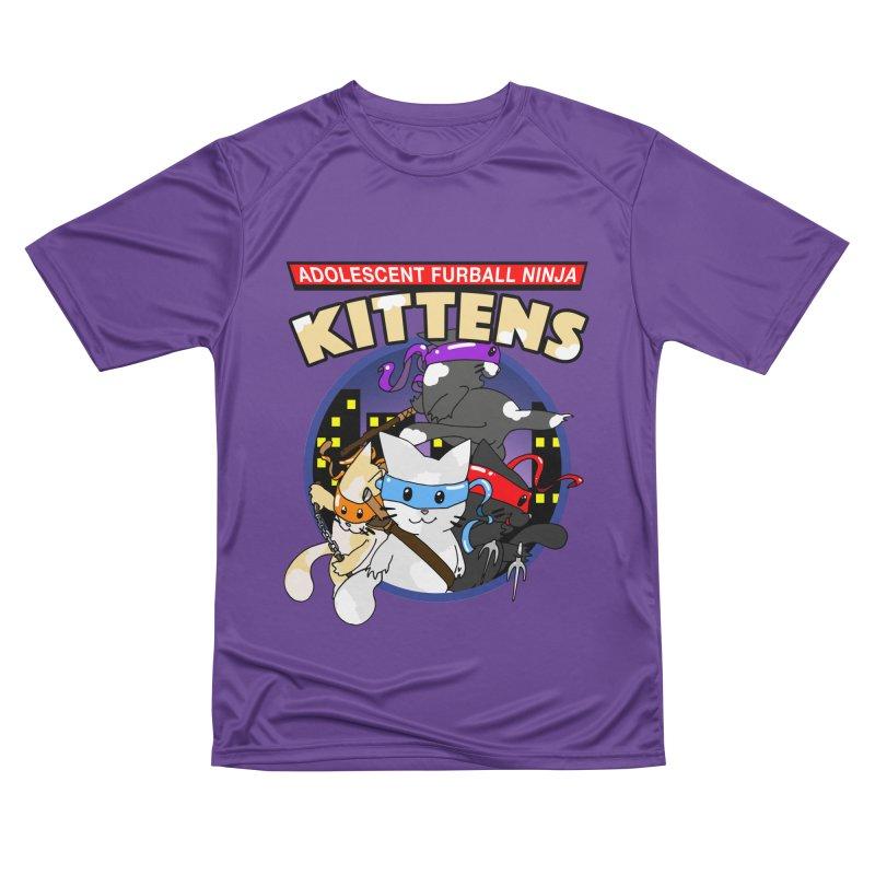 Adolescent Furball Ninja Kittens Women's Performance Unisex T-Shirt by Norman Wilkerson Designs