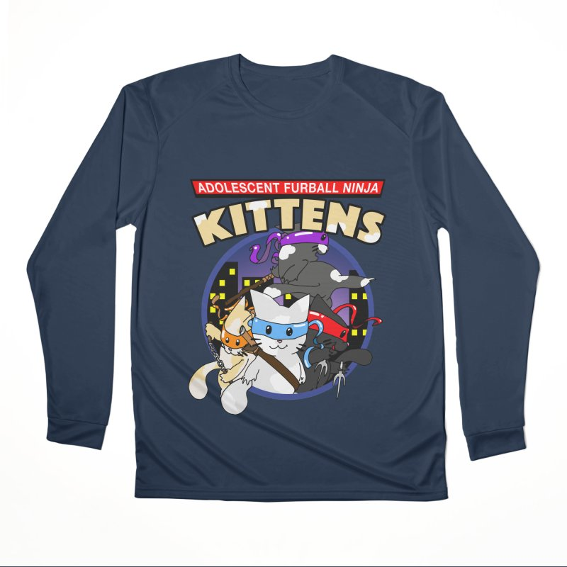 Adolescent Furball Ninja Kittens Women's Performance Unisex Longsleeve T-Shirt by Norman Wilkerson Designs