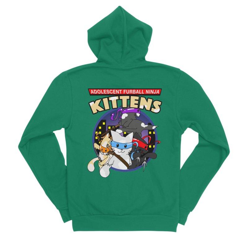Adolescent Furball Ninja Kittens Women's Sponge Fleece Zip-Up Hoody by Norman Wilkerson Designs