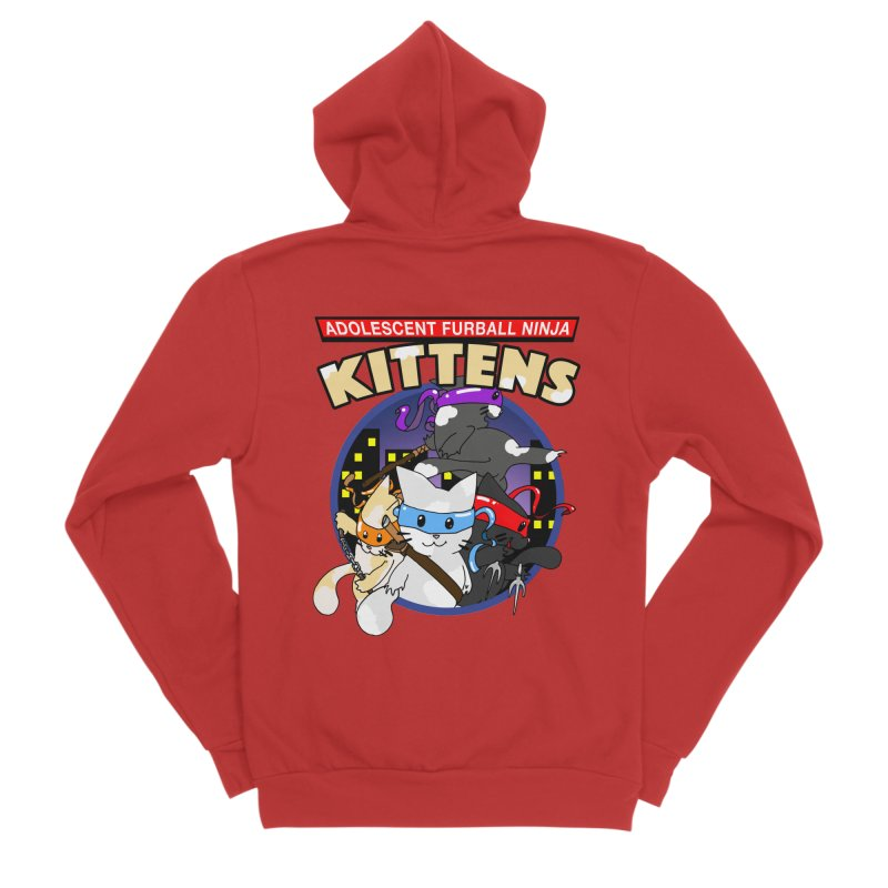 Adolescent Furball Ninja Kittens Men's Sponge Fleece Zip-Up Hoody by Norman Wilkerson Designs