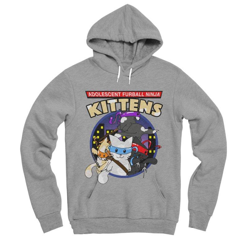Adolescent Furball Ninja Kittens Men's Sponge Fleece Pullover Hoody by Norman Wilkerson Designs