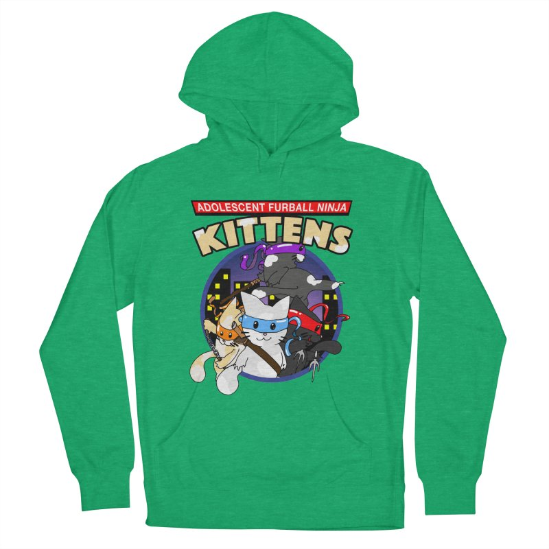 Adolescent Furball Ninja Kittens Men's French Terry Pullover Hoody by Norman Wilkerson Designs