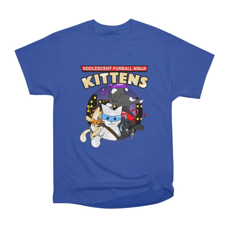 Adolescent Furball Ninja Kittens Men's Heavyweight T-Shirt by Norman Wilkerson Designs