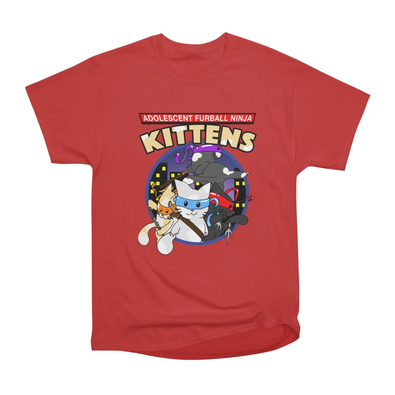 Adolescent Furball Ninja Kittens Women's Heavyweight Unisex T-Shirt by Norman Wilkerson Designs