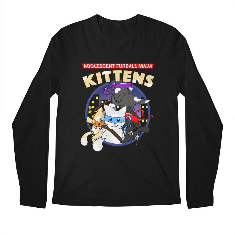 Adolescent Furball Ninja Kittens Men's Regular Longsleeve T-Shirt by Norman Wilkerson Designs