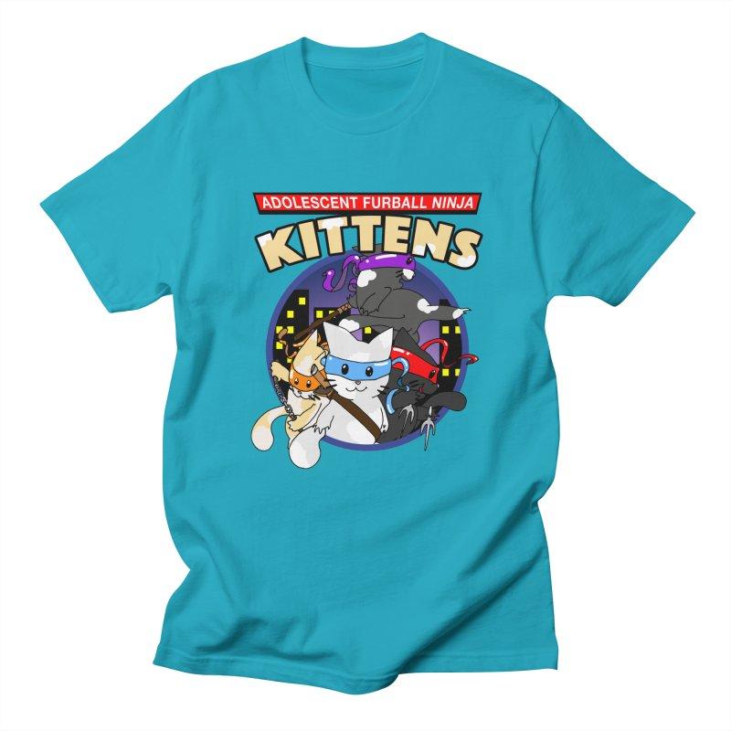 Adolescent Furball Ninja Kittens Men's Regular T-Shirt by Norman Wilkerson Designs