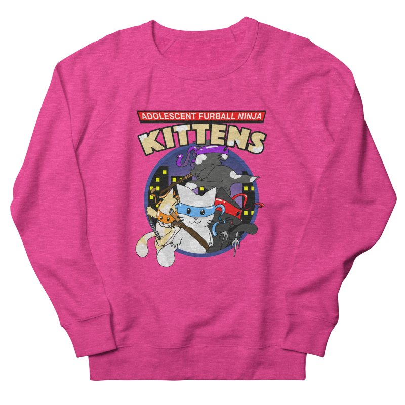 Adolescent Furball Ninja Kittens Women's French Terry Sweatshirt by Norman Wilkerson Designs