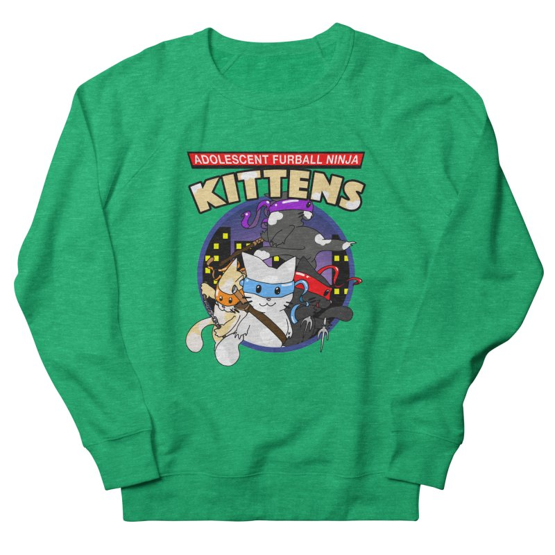 Adolescent Furball Ninja Kittens Men's French Terry Sweatshirt by Norman Wilkerson Designs