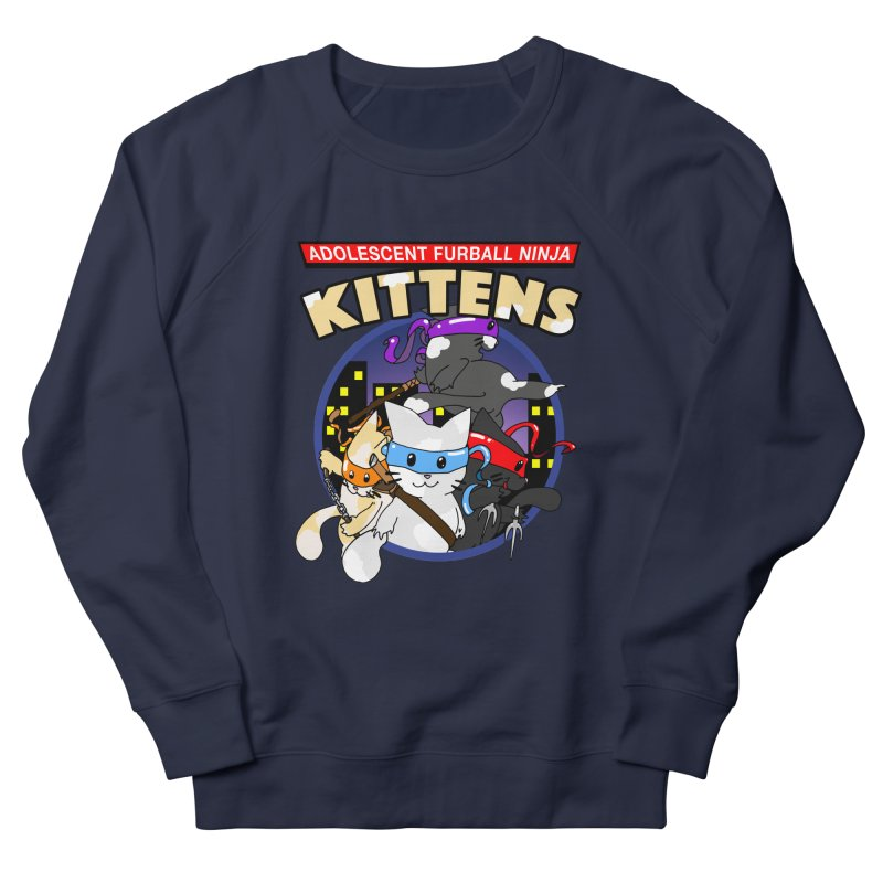 Adolescent Furball Ninja Kittens Men's French Terry Sweatshirt by Norman Wilkerson Designs