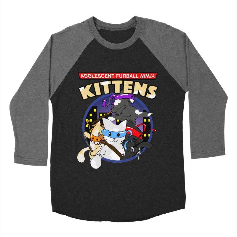 Adolescent Furball Ninja Kittens Women's Baseball Triblend Longsleeve T-Shirt by Norman Wilkerson Designs