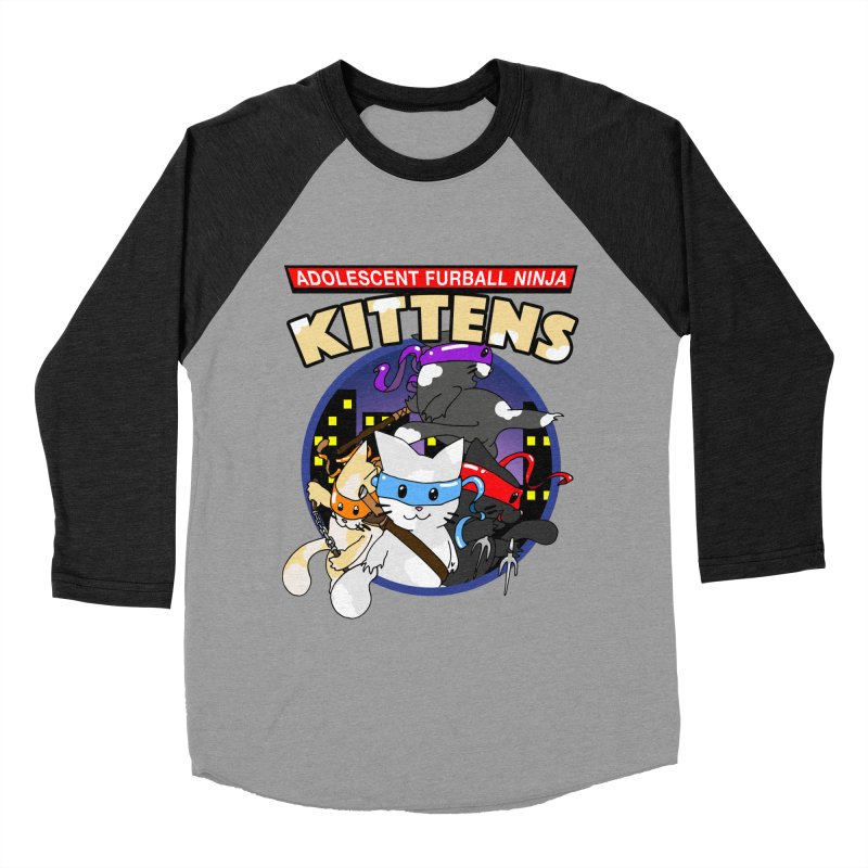 Adolescent Furball Ninja Kittens Men's Baseball Triblend Longsleeve T-Shirt by Norman Wilkerson Designs