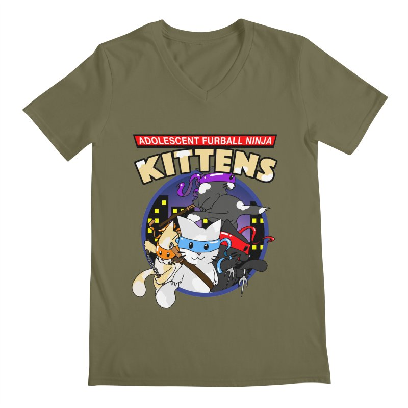 Adolescent Furball Ninja Kittens Men's Regular V-Neck by Norman Wilkerson Designs